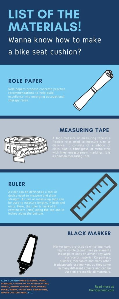 Seat cushion making materials infographic